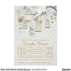 "Mint Gold Glitter Bridal Shower Mason Jars Cages 5"" X 7"" Invitation Card"