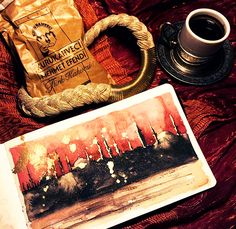 Part of my Istanbul sketchbook - Golden Horn skyline at sunset. Watercolour , Turkish coffee and gold gilding liquid on watercolour paper.