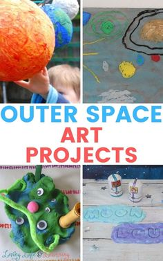 These Outer Space Art Projects are so much fun for the kids! They're going to love creating these fun art projects and be able to show them off to you. Space Activities For Kids, Preschool Learning Activities, Art Activities, Cool Art Projects, Projects For Kids, Painting For Kids, Art For Kids, Outer Space Crafts, Fun Arts And Crafts