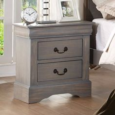 Louis Philippe III Antique Grey Night Stand 25503