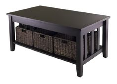 WINSOME MORRIS COFFEE TABLE WITH 3-FOLDABLE BASKET - Click image twice for more info - See a larger selection of rectangular coffee tables at http://zcoffeetables.com/product-category/rectangle-coffee-tables/ - home, home decor, home ideas, home furniture, office furniture, table, gift ideas, living room, patio,garden, outdoor living