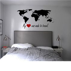 My heart was made to travel with World Map. https://www.etsy.com/listing/197440060/my-heart-was-made-to-travel-world-map? 210 other designs available.