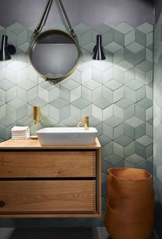 Bathroom tiles, ideas for stylish bathroom walls and floors. Contemporary Bathrooms, Modern Bathroom, Small Bathroom, Bad Inspiration, Bathroom Inspiration, Bathroom Faucets, Bathroom Wall, Bathroom Cabinets, Bathroom Ideas