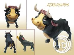 "Figura de Ferdinando, protagonista del corto de Disney ""Ferdinando el toro"" (1936). Es un toro adorable y pacífico al que le encanta sentarse a oler las flores. Figura de 22 cm aprox. Hecha totalmente a mano. Materiales: arcilla polimérica FIMO. Ferdinand The Bulls, Cow Pattern, Cartoon Characters, Fictional Characters, Painting Patterns, Scooby Doo, Lion Sculpture, Disney, Statue"