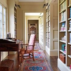 "Salvesen Graham on Instagram: ""If you don't have a room that suits a library space then this hallway option is a great idea - Konig a wide hallway with shelving and…"""
