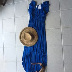 MAXI DRESS GREAT FOR DRESSING UP OR BEACH COVER UP Beautiful maxi dress blue great for dinner or cocktails or you can wear for a beach cover-up so comfortable and Flowy BILA Swim Coverups