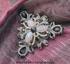 """Комплект """"Лунный свет"""" - браслет,анкарс,фриволите,лунный камень,серый цвет"""