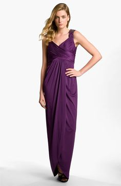 Adrianna Papell Embellished Shoulder Ruched Jersey Gown available at #Nordstrom