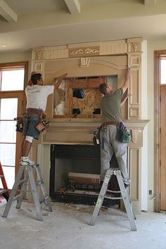 Building a mantel with a recessed TV overmantel.