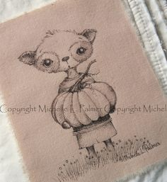Original Pen Ink Fabric Illustration Quilt Label by Michelle Palmer Pumpkin Patch Critter Boy August 2014