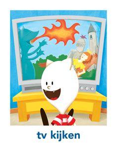 Borre dagritmekaart 'tv kijken'. Plaatjes in hogere kwaliteit zijn te downloaden en printen vanaf www.borre.nl. Klik daar op 'Doen'.