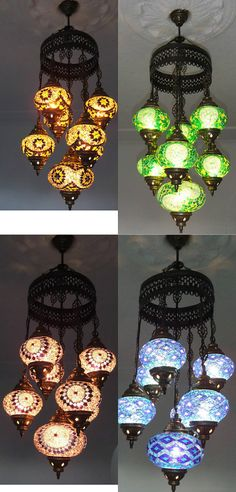 Large 7 ball Arabian Mosaic Lamps Moroccan by BeautyofTurkey