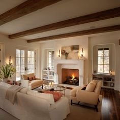Ceiling Beams create a cottage feel - DIY or design inspiration.