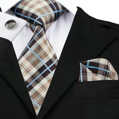 c9dfabe4ade4 USA Mens Tie Plaid Check Black Brown Silk Necktie Hanky Cufflinks Set Woven  in Clothing, Shoes & Accessories, Men's Accessories, Ties