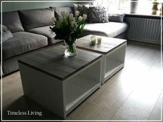 Stoere landelijke salontafels van steigerhout met greywash blad - Timeless Living.nl