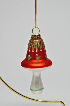 Red Glass Christmas Mushroom Ornament by StaziesStitchsNStuff on Etsy Glass Mushrooms, Mushroom Art, Sculpture Clay, Handmade Jewelry, Handmade Gifts, Red Glass, Vintage Home Decor, Customized Gifts, Baby Gifts