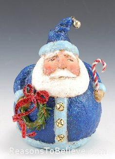 Small Blue Santa with Wreath and Candy Cane