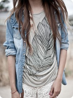 Love this graphic tee + chambray combo!
