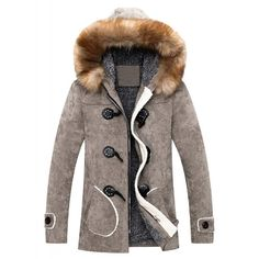 Retro Style Single Breasted Hooded Fur Collar Solid Color Coat For Men