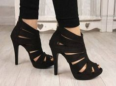 """Sexy Womens Platform Pumps Peep Toe Stiletto High Heels Sandal Shoes Material: Faux SuedeSize:US 4.5-8.5Heels: approx. 11 cm (4.4"""")Platform: approx. 2 cm (0.8"""")Color: Black available"""