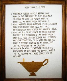 Nightingale Pledge cross stitch pattern.