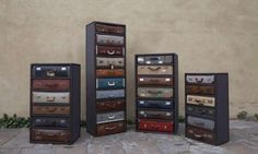 Vintage Luggage Cabinets - The Suitcase Chests by JAMESPLUMB are Fit for Travel Lovers (GALLERY)