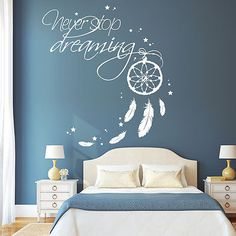Details about 10638 Wandtattoo Loft Wall Stickers Never Stop Dreaming Dreamcatcher Wall Stickers Bedroom, Room Decor, Bedroom Decor, Loft Wall, Interior Design Living Room, Interior Design Bedroom Teenage, Bedroom Wall Colors, Home Decor, Bedroom Wall