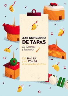 Concurso de Tapas de Zaragoza y Provincia - Poster by Fabiola Correas   #illustration #cute #naif #kawaii