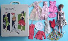 Titian bubble cut Elite Creations Wendy doll, all authentic Wendy clothing and a case. Wendy is a Barbie-size clone from the 1960's.