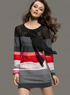Striped Knit Long Sleeve Pussybow Sweater by Maria $ 75