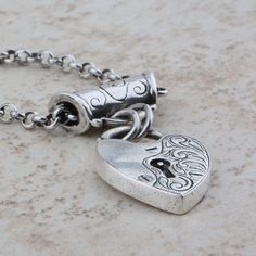 Delicate burnished silver chain necklace with removable engraved heart slider Engraved Jewelry, Silver Chain Necklace, Cufflinks, Delicate, Jewellery, Heart, Accessories, Jewels, Schmuck