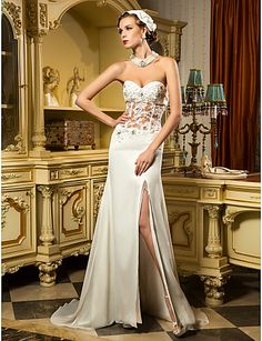 Sheath/Column Sweetheart Sweep/Brush Train Chiffon And Tulle Wedding Dress (699422) – USD $ 179.99