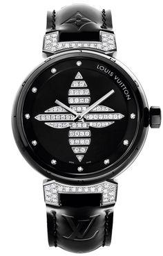 Tambour Forever Ceramic Black ceramic case and lugs set with diamonds, black bracelet monogram Vernis, limited edition of 200 pieces © LOUIS VUITTON
