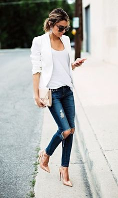 Best 101 Style Blazer Outfit Ideas If somebody wants to appear classy and be… Fashion Mode, Look Fashion, Autumn Fashion, Womens Fashion, Ladies Fashion, Street Fashion, Feminine Fashion, Fashion Black, Fashion 2018