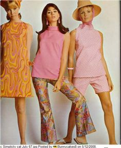 sixties --  omg!  I found material that matched exactly to that orange dress & made it! Pink, orange, yellow & purple. hahaha