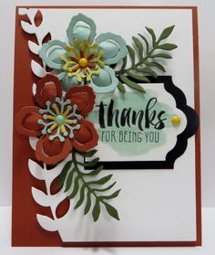 Stampin' Up 2016 Occasions Catalog Sneak Peek - Botanicals Thanks Card created by Lynn Gauthier using SU's Botanical Gardens DSP, Botanical Blooms and Suite Sayings Stamp Sets and Botanical Builder Framelits Dies.  Go to http://lynnslocker.blogspot.com/2015/12/stampin-up-2016-occasions-catalog-sneak_29.html to see how to make this card.