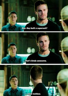 Arrow - Oliver & Roy One look from Oliver and Roy says what he knows what he's talking about. Arrow Cw, Arrow Oliver, Team Arrow, Arrow Quote, Roy Arrow, Supergirl Dc, Supergirl And Flash, The Flash, Arrow Flash