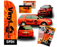 Vinyl Restuant asked GFM to help enhance their existing branding.  Keeping their existing black and orange colour scheme GFM has helped design their car graphics, promotional flags, brochures and business cards.