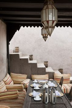 Setted table for breakfast in the terrace of Riad Dar Darma in Marrakech www.dardarma.com