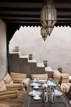 Setted table for breakfast in the terrace of Riad Dar Darma in Marrakech www.dardarma.com