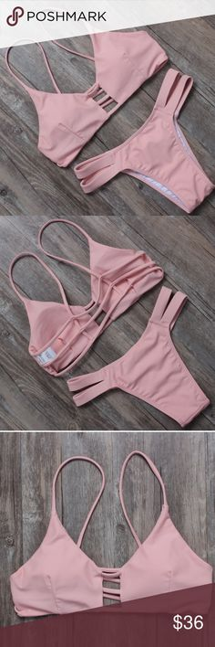 NEW!! 💖Pretty Strappy Nude Pink Bikini 💖Pretty in Pink. Strappy back.                                      💖Lightly padded.                                                          💖Double banded bottoms. Minimal coverage. KaiBella Swim Swim Bikinis