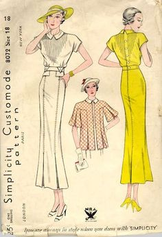 decorative stitches, not pintucks vintage 1930's fashion
