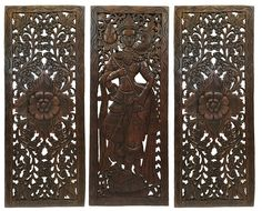 "Multi Panels Oriental Home Decor. Wood Carved Floral Wall Art. Bali Home Decor. Decorative Thai Wall Relief Panel Sculpture. Large Wood Wall Panel Brown Finish 35.5""x13.5""x0.5"" Set of 3"