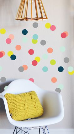 """Fully removable and reusable wall decals that will brighten and add character to any room.    Material: 100% polyester fabric self adhesive vinyl, HP latex inks Size: 80 individual decals - 3"""" x 3"""" dots Care: For best result do not use on textured walls or walls painted with flat paint. To clean use damp cloth and warm water."""