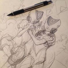 Sketch for Sandalphon #sketch #drawing #pencil #graphite #sketchbook #angel #twins #art #illustration #instaart