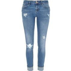 River Island Mid wash ripped Daisy slim jeans ($84) ❤ liked on Polyvore featuring jeans, bottoms, pants, trousers, straight / slim jeans, women, ripped blue jeans, distressing jeans, destructed jeans en low rise jeans