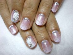 Pink wedding nail art with flowers and rhinestones :: one1lady.com :: #nail #nails #nailart #manicure