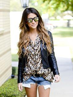 Leather jacket + leopard print + denim shorts
