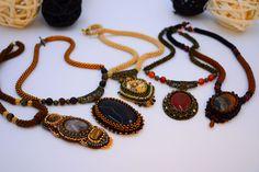 Earthly tones - Bead crocheted handmade necklaces  https://micuka.com/Category_Earth_Tones.html