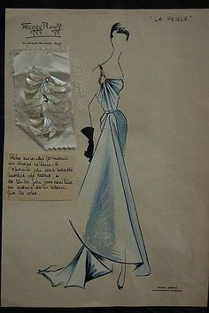 Maggy Rouff sketch of evening gown, mid-late 1950s
